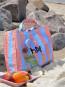 Candy stripe shopper M blue and orange