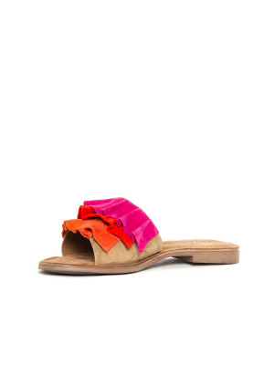 Suede leather sandals red multi 3 - invisable