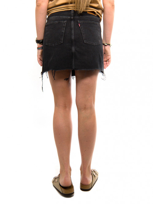 Iconic fly button skirt black