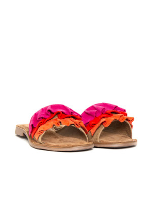 Suede leather sandals red multi 4 - invisable