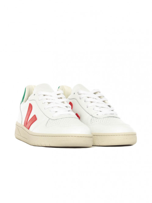 V10 leather sneaker white emeraude