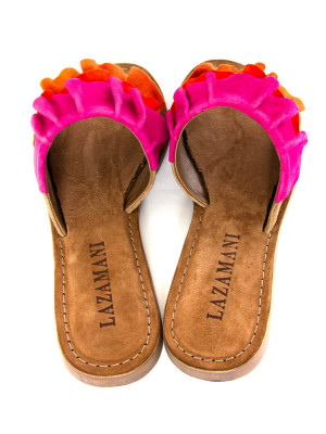 Suede leather sandals red multi 5 - invisable